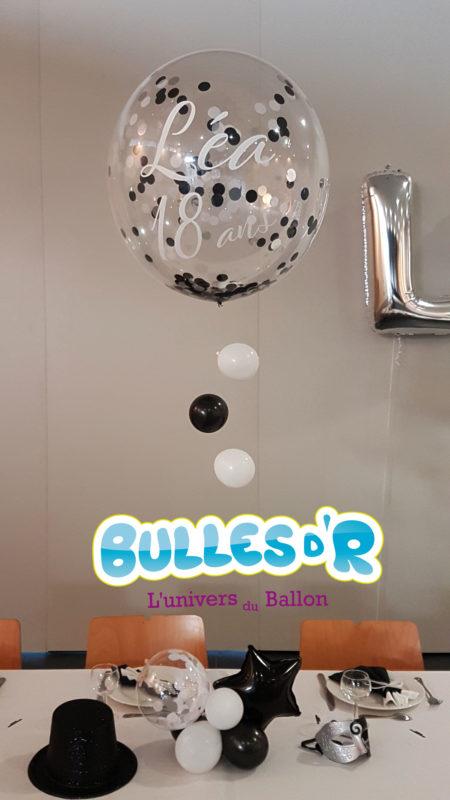Décoration Anniversaire 18ans - Ballon confettis personalisée à l'hélium