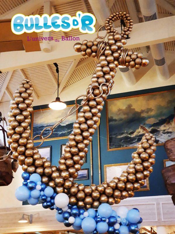 Décoration Nouvel An ancre ballon chrome doré
