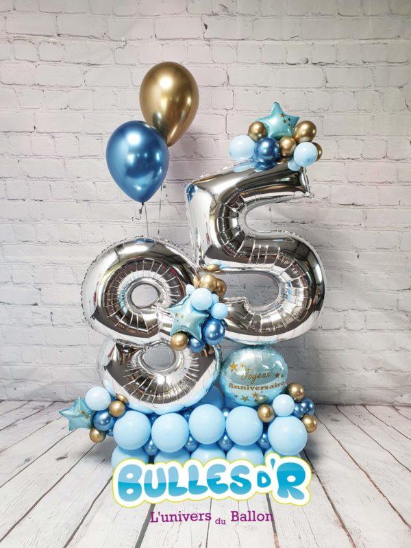 Création Chiffres Géants Ballons 85 ans - Bleu Bulles d'R