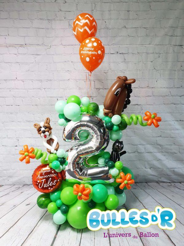 Bulles d'R Création Chiffres Géants Ballons 2 ans - Animaux