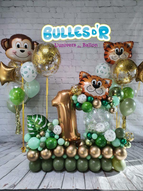 Création Chiffre Géant Ballons 1 an - Jungle et Or Chrome Bulles d'R