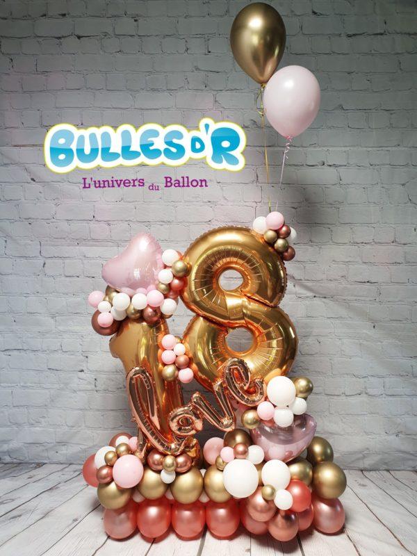 Bulles d'R - Création Chiffres Géants Ballons 18 ans - Love et Rose Gold