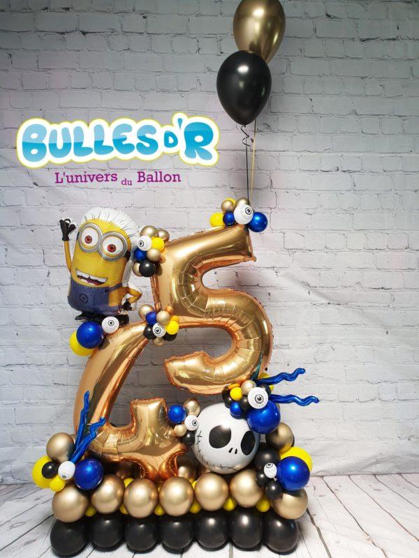 Bulles d'R - Création Chiffres Géants Ballons 45 ans - Minions