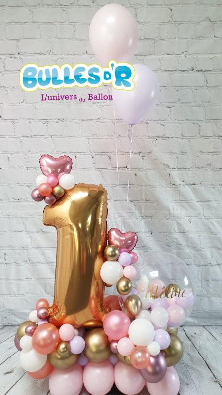 Bulles d'R - Création Chiffres Géants Ballons 1 an - Roses et Coeurs
