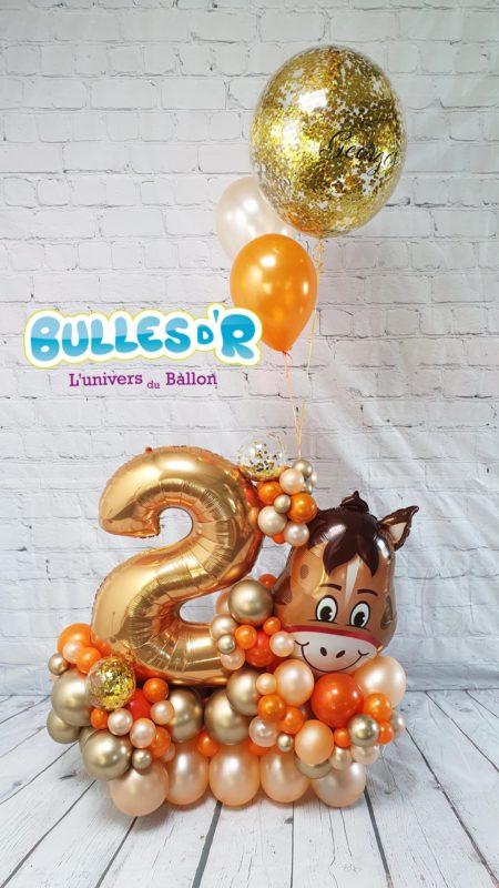 Bulles d'R - Création Chiffres Géants Ballons 2 ans - Cheval et Confettis