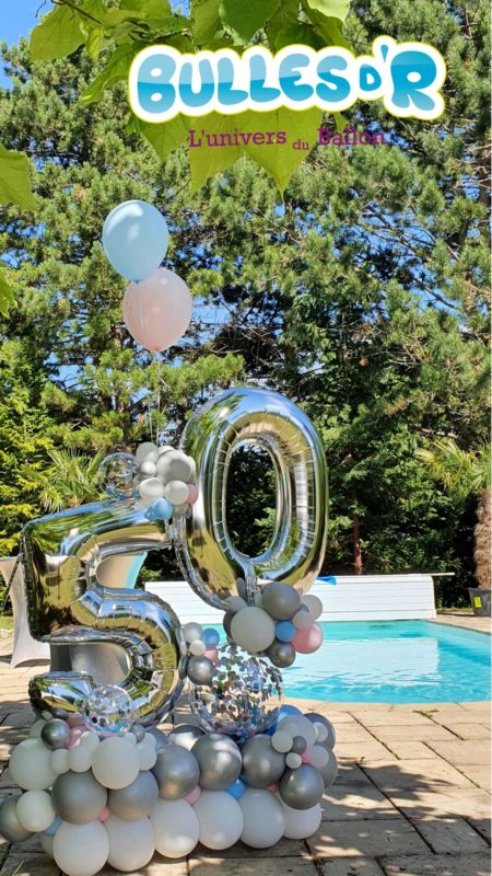 Bulles d'R - Création Chiffres Géants Ballons 50 ans - Argent et Confettis