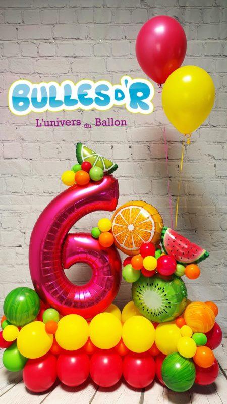 Création Chiffres Géants Ballons 6ans - Tutti Frutti Bulles d'R